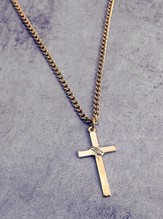 Gold Wrapped Cross on 24 Curb Chain