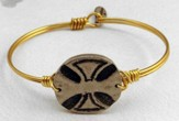 Oxidized Brass Bracelet with Pewter Maltese Cross