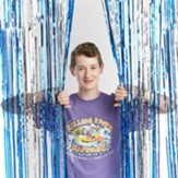 Rolling River Rampage: Blue/Silver Foil Decorating Curtain