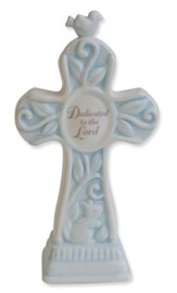 Dedicated to the Lord Tabletop Cross, Blue