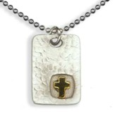 Square Disc Pendant, with Cross