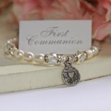 First Communion Bracelet with Freshwater Pearls