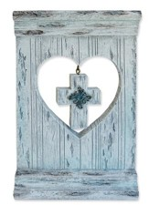 Rustic Heart Cut Out with hanging Cross Figurine