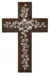 Silver Rose and Vine Wall Cross