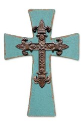 Fleur De Lis Iron Wall Cross, Teal