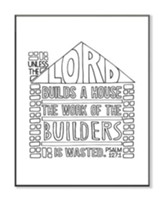 Lord Builds A House, Coloring Wall Art, Small
