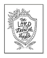 The Lord Is My Strength, Coloring Wall Art, Small