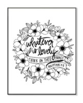 Whatever Is Lovely, Coloring Wall Art, Large