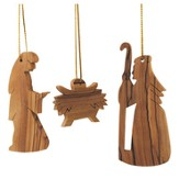 Olivewood Nativity Ornaments, Set of 3 Pieces