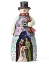 Snowman with Holy Family Figure
