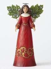 Angel with Holly Leaf Figure