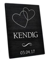 Personalized, Lithograph Plaque, with Hearts, Black