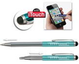 Telescopic Pen with Stylus, Turquoise