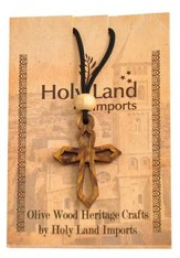 Olive Wood Pointed Cross Pendant on Cord