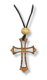 Olive Wood Open Cross Pendant on Cord