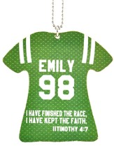 Personalized, Jersey Keychain, Keep The Faith, Girl,   Green