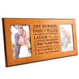 Personalized, Double Photo Frame, Family Rules, Cherry,  4X6