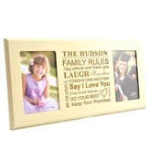 Personalized, Double Photo Frame, Family Rules, Ivory  4X6