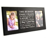 Personalized, Double Photo Frame, Family Rules, Black  4X6