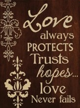 Love Always Protects, Natural Maple-Stained Wall Hanging, 11.5W X 15.5H