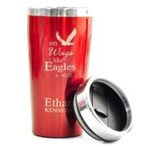 Personalized, Travel Mug, On Wings Like Eagles, Red