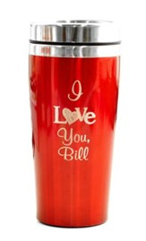 Personalized, Travel Mug, I Love You, Red