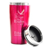 Personalized, Travel Mug, On Wings Like Eagles, Pink