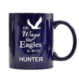 Personalized, Ceramic Mug, On Wings Like Eagles, Dark Blue