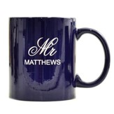 Personalized, Ceramic Mug, Mr and Mrs, Dark Blue