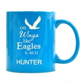 Personalized, Ceramic Mug, On Wings Like Eagles, Light  Blue