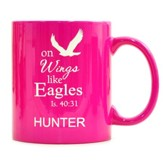 Personalized, Ceramic Mug, On Wings Like Eagles, Pink