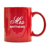 Personalized, Ceramic Mug, Mr and Mrs, Red