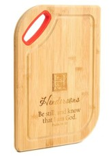 Personalized, Bamboo Cutting Board, Be Still, Red