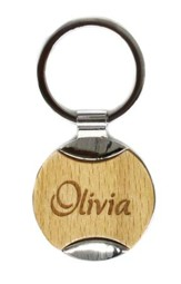 Personalized, Wood Keyring, with Name, Circle