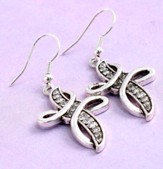 Swirl Cross Earrings, Crystal
