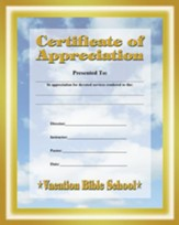 Celebrate Jesus VBS: Certificate of Appreciation