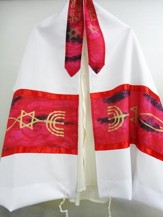 Red Prayer Shawl with Messianic Symbol