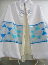 Star of David Prayer Shawl, Gray and Blue