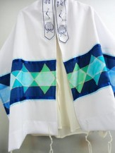 Star of David Prayer Shawl, Dark Blue and Green