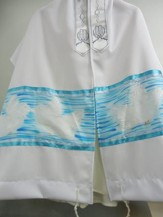 White Doves Prayer Shawl, Light Blue Sky