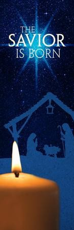 The Savior Is Born Vinyl Banner (2 x 6)