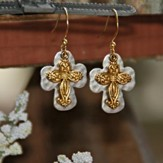 Double Cross Earrings, Two-Tone