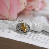 First Communion, Disk Necklace with Cross
