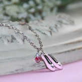 Child's Ballet Shoes Necklace, Pink