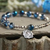 Rosary Bracelet, Beaded, Blue