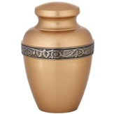 Leaf Design Brass Memorial Urn
