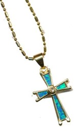 Black Opal Cross Necklace