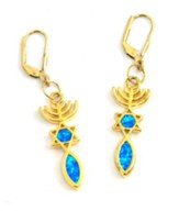 Messianic Sign Earrings, Black Opal in Gold