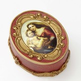 Sistine Madonna Oval Rosary Box with Hail Mary Prayer