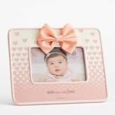 Made With 100 Percent Love Photo Frame with Bow, Pink